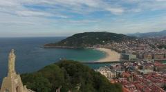 San Sebastián, Spain, 4k Aerial Orbit Stock Footage