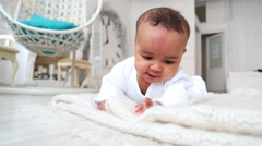 Baby on the carpet in my room Stock Footage