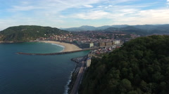 San Sebastián, Spain Aerial Beach 4k Stock Footage