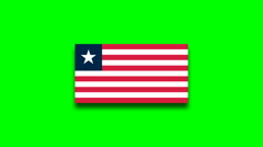4K - Liberia country flag obn green screen Stock Footage
