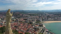 San Sebastián, Spain, 4k Aerial Orbit Stock Footage