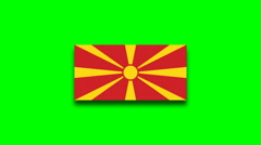 4K - Macedonia country flag on green screen Stock Footage