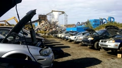 4K Car Junk Yard Recycling Scrap Vehicles Industry Stock Footage