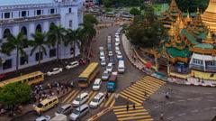 Time Lapse Traffic Public Transportation Of Yangon City, Myanmar Stock Footage