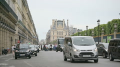 POV of Pris boulevard with Louvre behind Stock Footage