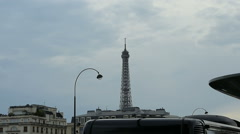 Bus Discotheque in Paris with Eiffel Tower behind Stock Footage