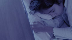 Monster coming out from under little girls bed. nightmare child. halloween Stock Footage