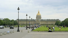 Esplanade des Invalides in front of the DOME DES INVALIDES, TOMB OF NAPOLEON Stock Footage