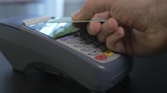 4K Contactless Payment Transaction At Store With Credit Card Wireless Stock Footage