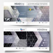 Templates for square design bi fold brochure, magazine, flyer. Leaflet cover Stock Illustration