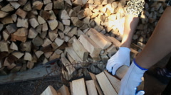 Worker puts wood closeup Stock Footage