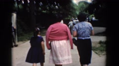 1960: women who walk to a park with children BEL AIR MARYLAND Stock Footage