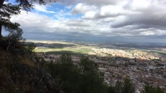 Panoramic view of Jaen from Castle Santa Catalina in Jaen Province, Andalusia Stock Footage