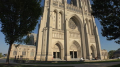 Washington National Cathedral, late day sun Stock Footage