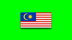 4K - Malaysia country flag on green screen Stock Footage