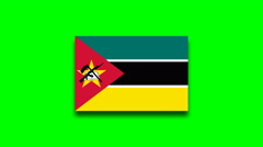 4K - Mozambique country flag on green screen Stock Footage