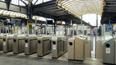 Turnstile access security point in Paris Gare de Est Stock Footage
