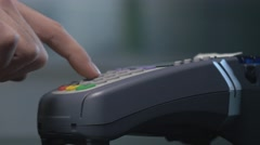 4K Customer Swiping Credit Card Into Terminal To Pay Stock Footage