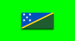 4K - Solomon Islands country flag on green screen Stock Footage
