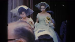 1960: wedding party leaving the chapel. BEL AIR MARYLAND Stock Footage