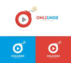 Vector logo combination of a play button and bomb. Audio and video logo. Media Stock Illustration