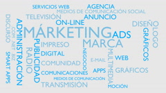 Marketing, branding word tag cloud - white, Spanish variant Stock Footage