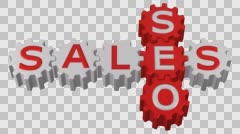 Concept: Gearwheel with words SEO and Sales turn around. 3D rendering. Stock Footage
