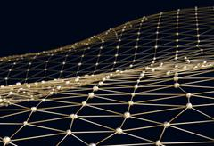 Abstract background of links and connections net nodes 3d illustration Stock Illustration