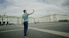 Man doing selfie on the sights of Petersburg Stock Footage