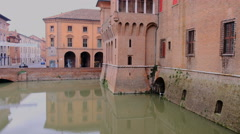 Ferrara Castle, medieval castle in the center of Ferrara, northern Italy Stock Footage