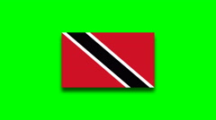 4K - Trinidad and Tobago country flag on green screen Stock Footage