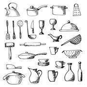 Set of hand drawn cookware. Vector illustration. Stock Illustration
