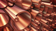 Copper pipes with selective focus. Stock Footage
