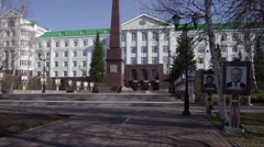 Khanty-Mansiysk city - сounty government building. Long shot. Spring. Stock Footage