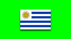 4K - Uruguay country flag on green screen Stock Footage