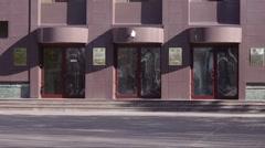 Khanty-Mansiysk city - сounty government building. Entrance. Stock Footage