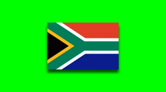 4K - South Africa country flag on green screen Stock Footage