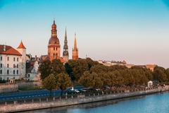 Riga Latvia. View Of 11 November Embankment Of Daugava. Towers Stock Photos