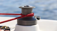 Incorrect use a winch on a yacht Stock Footage