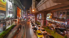 Time lapse view of street in front of Siam Center Shopping Mall. Stock Footage