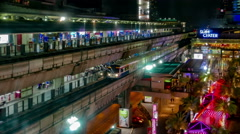 Night view Timelapse of Siam BTS Skytrain Station. Stock Footage
