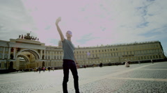 Happy guy doing selfie in St. Petersburg Stock Footage