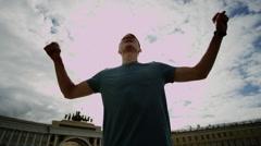 Happy guy in St. Petersburg Stock Footage