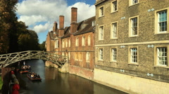The Mathematical Bridge over the River Cam in Cambridge. Stock Footage