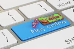 Casino, play online concept on keyboard button, 3D rendering Stock Illustration