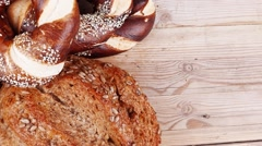 Rural homemade rye bread and baguette Stock Footage