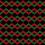 Knitting seamless pattern with interwoven zigzag tapes Stock Illustration