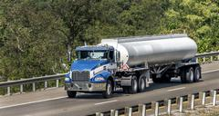 Gasoline Tanker Truck On The Interstate Highway Stock Photos
