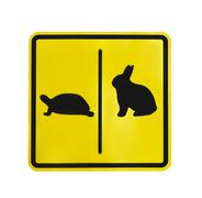 Yellow traffic label  turtle and rabbit pictogram isolated Stock Photos