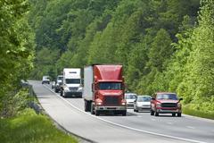 Trucking Traffic On Interstate Highway Kuvituskuvat